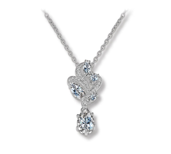 Swirl Drop CZ Diamond Pendant Necklace