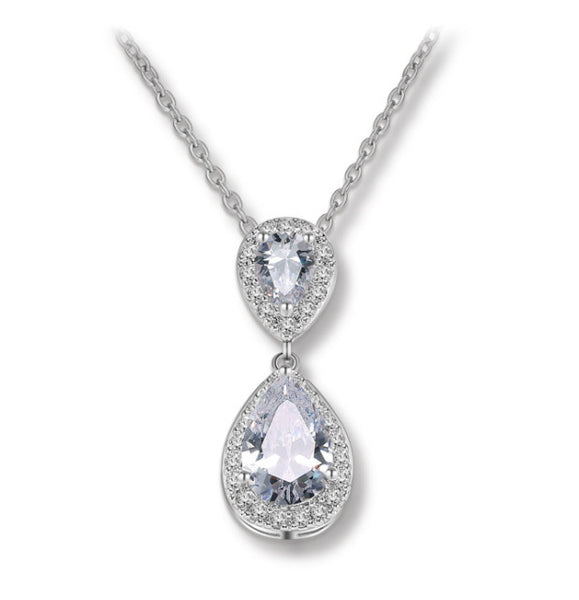 MyKay Double Halo Pear Cut CZ Diamond Necklace