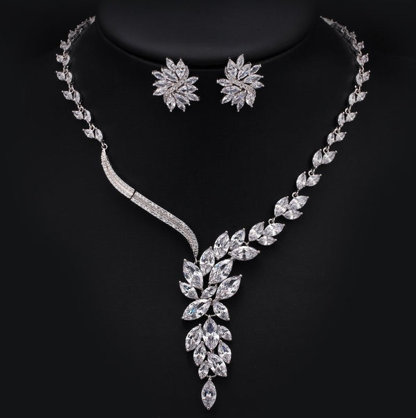 MyKay Petals Wave CZ Diamond Necklace and Earrings Bridal Set