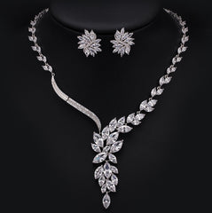 Petals Wave CZ Diamond Necklace and Earrings Bridal Set