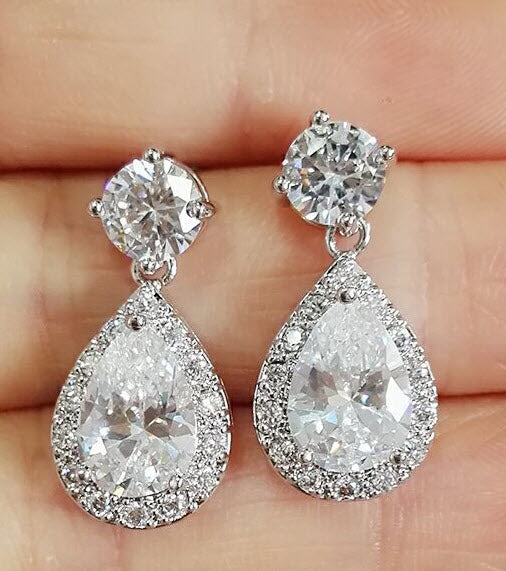 Water Drop CZ Diamond Earrings