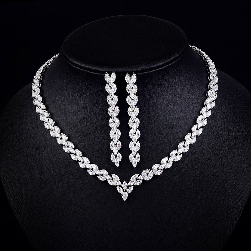 Triple Marquise CZ Diamond Necklace & Earrings Bridal Set