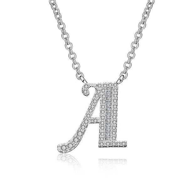White Sapphire Initial Letter Pendant Necklace