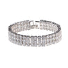 Luxe Three Row Round CZ Diamond Tennis Bridal Bracelet