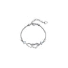Double Hearts Sterling Silver Round CZ Diamond Bracelet