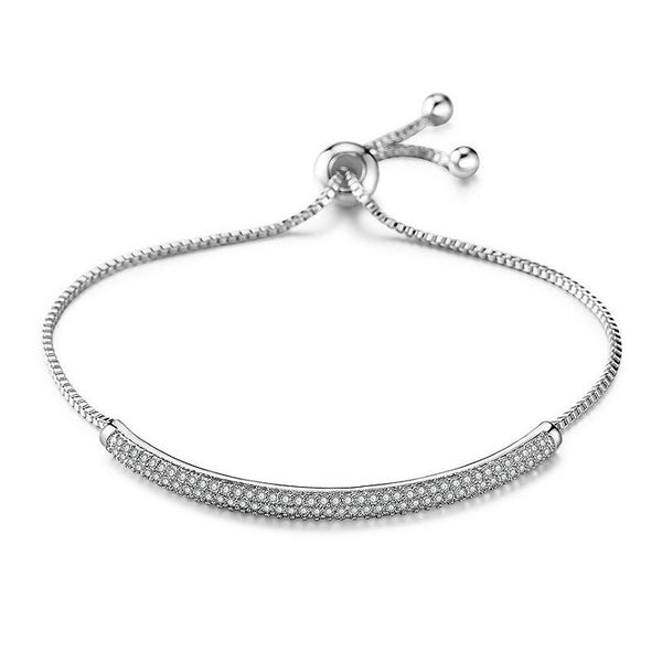 MyKay Adjustable Full Swarovski Crystal Semi-Bangle