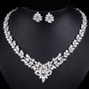 MyKay Classic Flower Marquise CZ Diamond Necklace & Earrings Bridal Set