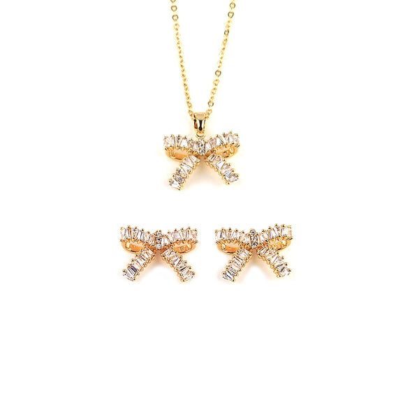 MyKay Bow Tapered Baguette CZ Diamond Jewelry Set