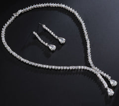 MyKay Luxury Double Strand CZ Diamond Necklace & Earrings Bridal Set