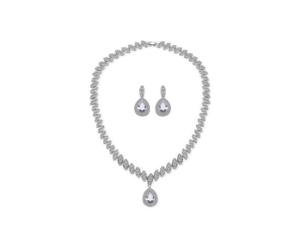 MyKay Marquise Pear Pendant CZ Diamond Necklace & Earring Bridal Set