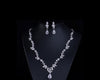 MyKay Large Pear Cut Floral C Diamond Necklace & Earrings Bridal Set