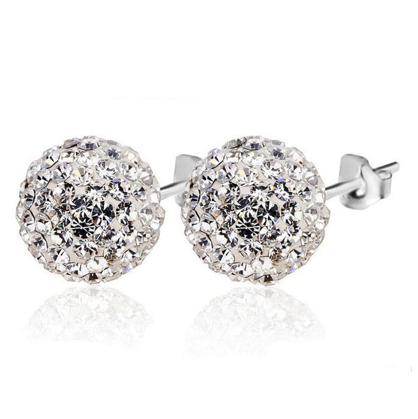MyKay Sparkling Crystal Ball Stud Earrings in Sterling Silver