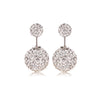Sparkling Double Crystal Balls Stud Earrings In Sterling Silver