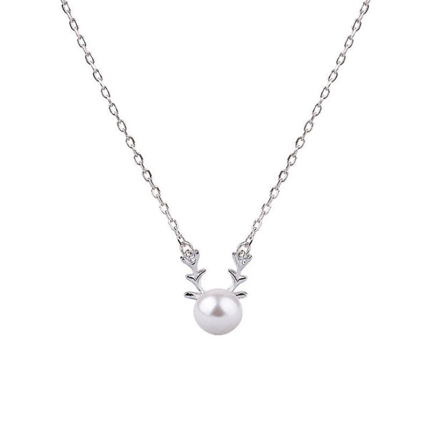 Festive Deer & Pearl Pendant Necklace in Sterling Silver