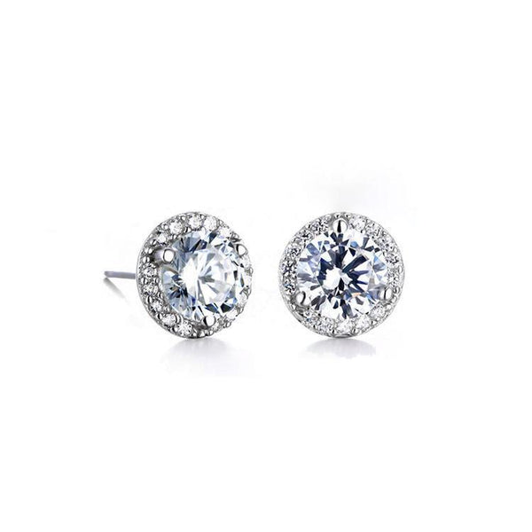 MyKay Classic Halo Round Cut 2.0ct CZ Diamond Stud Earrings in Sterling Silver