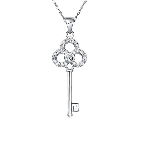 Crown Key Pendant Sterling Silver Necklace