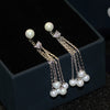 Freshwater Pearls Dangle Pyramid CZ Diamond Sterling Silver Earrings