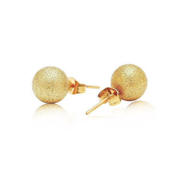 MyKay Sterling Silver Ball Studs in Frosted Finish