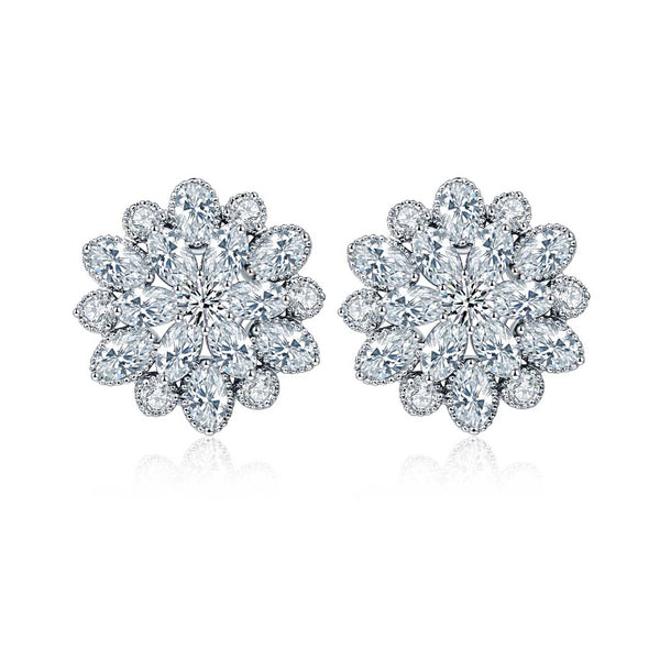 MyKay Luxurous Double Flower CZ Diamond Stud Sterling Silver Prongs Earrings