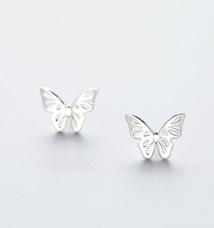 MyKay Butterfly Stud Earrings in Sterling Silver - Silver