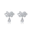 MyKay Floral Knots with Tear Drop CZ Diamond Sterling Silver Prongs Earrings