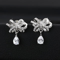 MyKay Floral Knots with Tear Drop CZ Diamond Sterling Silver Prongs Earrings 1