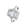 MyKay Halo Emerald Cut SONA Diamond Engagement Ring in Sterling Silver