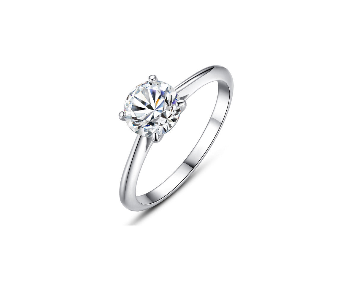 Four-Prong Solitaire Round Cut 1ct CZ Diamond Engagement Ring In Sterling Silver