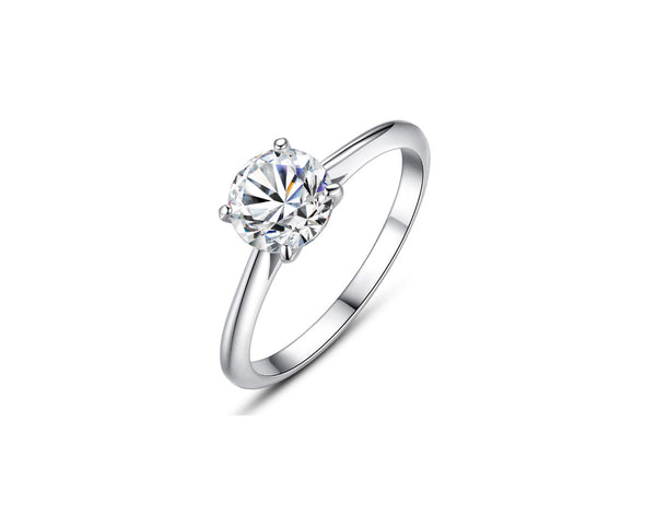 MyKay Four-Prong Solitaire Round Cut 1ct CZ Diamond Engagement Ring In Sterling Silver