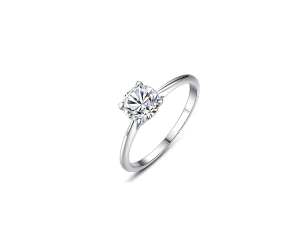 Four-Prong Solitaire Round Cut 0.8ct CZ Diamond Engagement Ring In Sterling Silver