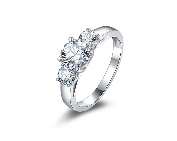 MyKay Three Stone Round Cut 1.0ct CZ Diamond Engagement Ring in Sterling Silver