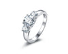 MyKay Three Stone Round Cut SONA Diamond Engagement Ring in Sterling Silver