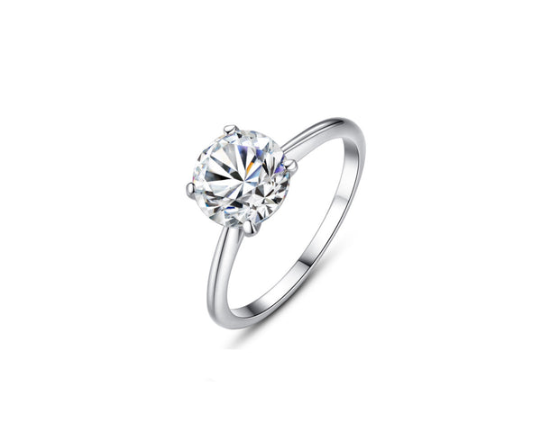 MyKay Four-Prong Solitaire Round Cut 2.0ct CZ Diamond Engagement Ring In Sterling Silver