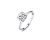 Four-Prong Solitaire Round Cut 2.0ct CZ Diamond Engagement Ring In Sterling Silver