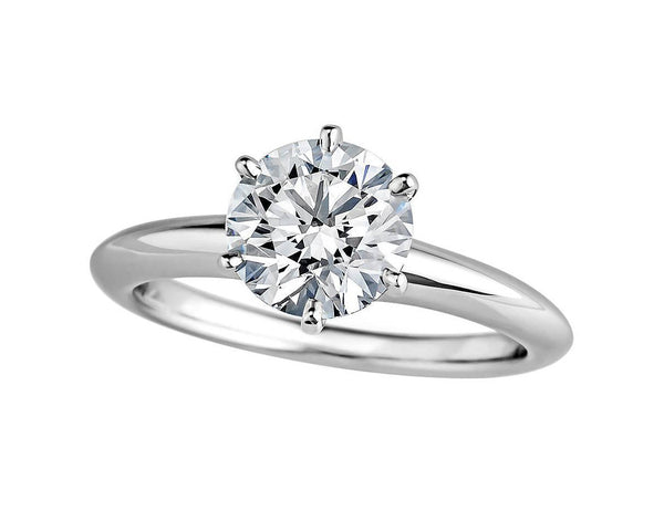 Classic Six-Prong Solitaire Round Cut SONA Diamond Engagement Ring in Sterling Silver