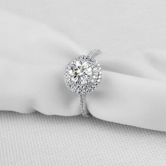 MyKay Double Halo Round Cut 1.0ct CZ Diamond Engagement Ring 02