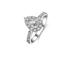 MyKay Halo Pear Cut 0.75ct CZ Diamond Engagement Ring in Sterling Silver
