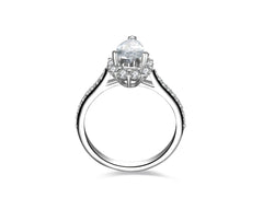 Halo Pear Cut SONA Diamond Engagement Ring in Sterling Silver