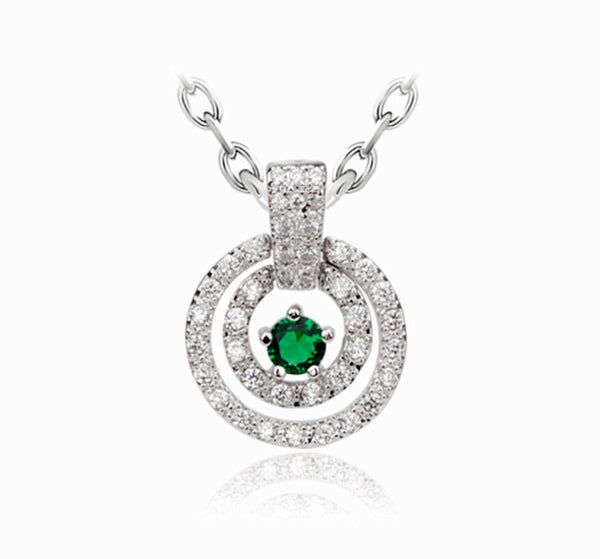 Double Circle Eternal CZ Diamond Pendant Necklace