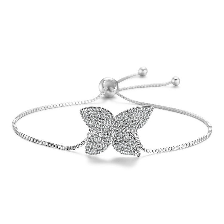 MyKay Luxury Adjustable Swarovski Lucky Clover Bracelet