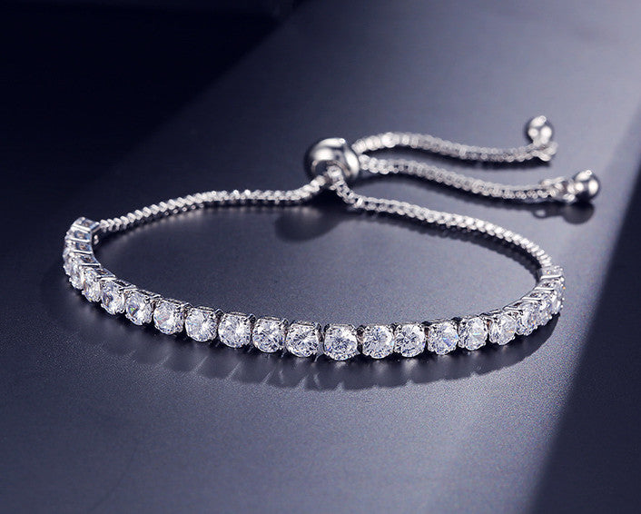 MyKay Luxury Adjustable Tennis Bracelet with Swarovski Element