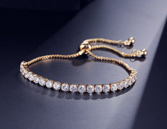 Luxury Adjustable Tennis Bracelet with Swarovski Element YG