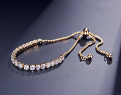 Luxury Adjustable Tennis Bracelet with Swarovski Element RG