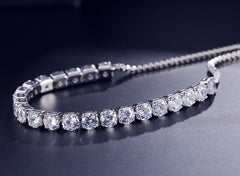 MyKay Luxury Adjustable CZ Diamond Tennis Bracelet