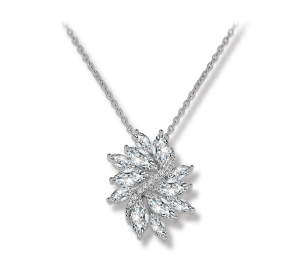 MyKay Large Floral Swirl Pendant CZ Diamond Necklace 1