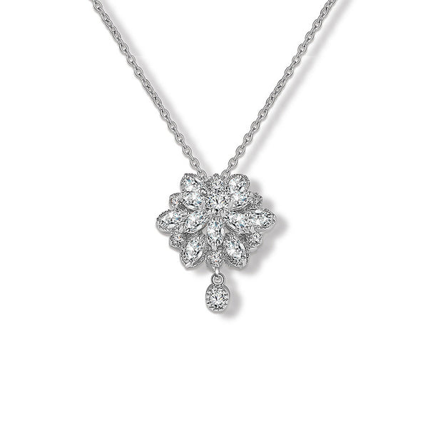 Charming Flower CZ Diamond Pendant Necklace