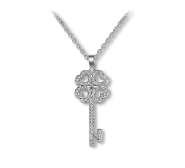 Heart Key CZ Diamond Pendant Necklace