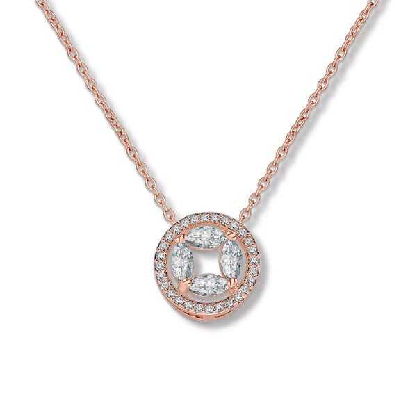 MyKay Infinity Circle Pendant CZ Diamond Necklace RG