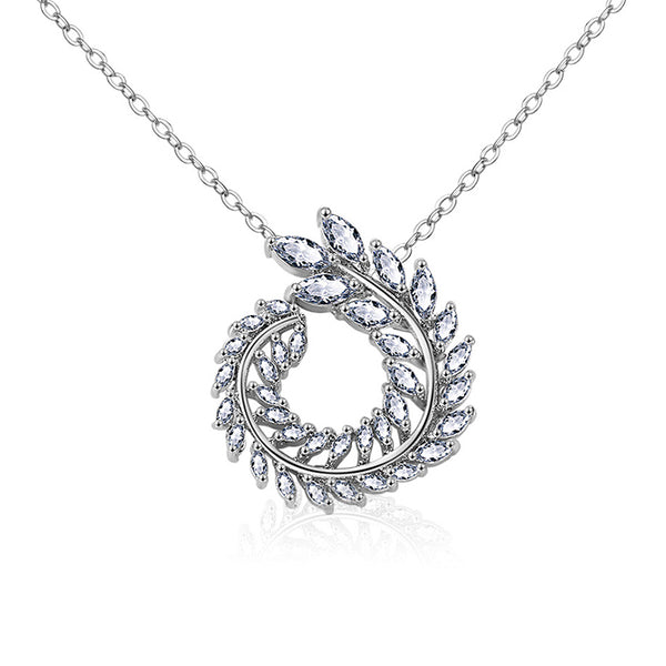 Modern Wreath Marquise Pendant CZ Diamond Necklace
