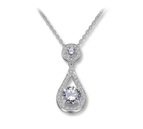 MyKay Round CZ Diamond in Tear Drop Pendant Necklace SV